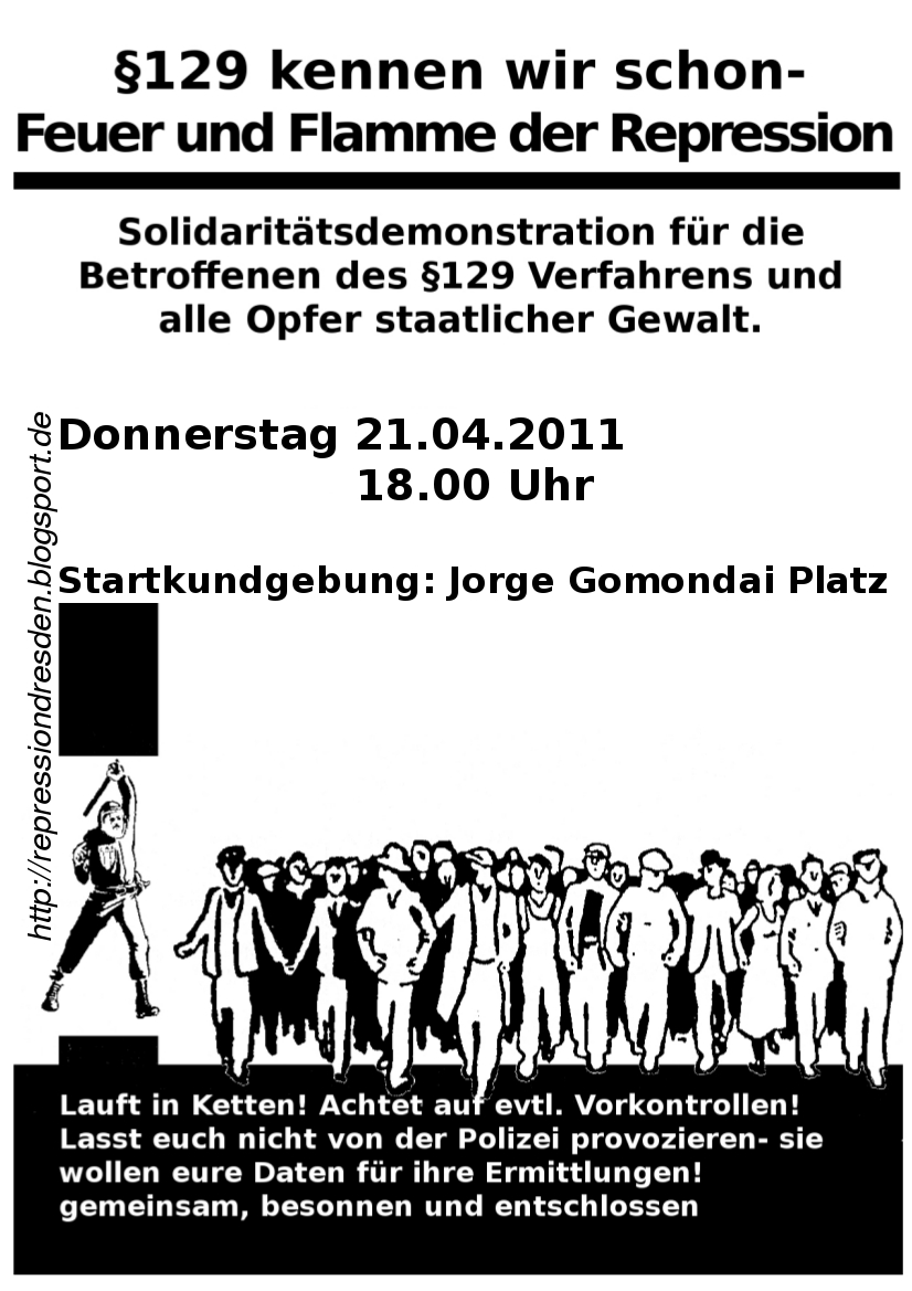 Flyer Antirepressionsdemo 21.04.2011 in Dresden